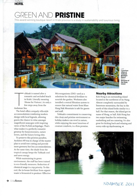 "Article from""Sawasdee"", Thai Airways in-flight magazine."